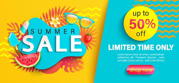 Summer big Sale banner, on geometric background.