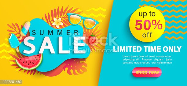 istock Summer big Sale banner, on geometric background. 1227201480