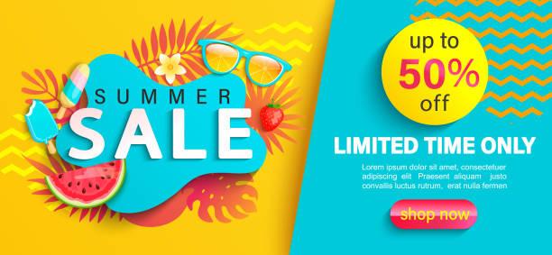 ilustraciones, imágenes clip art, dibujos animados e iconos de stock de bandera de verano grande venta, sobre fondo geométrico. - verano