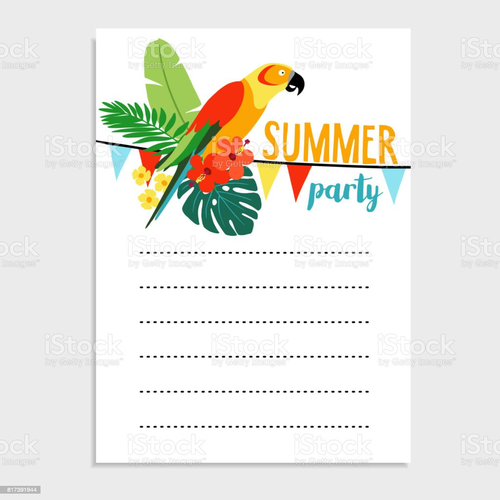 Summer Birthday Party Greeting Card Invitation Parrot Bird Palm Leaves Hibiscus Flowers Paper Flags Decoration Tropical Jungle Design Web Banner
