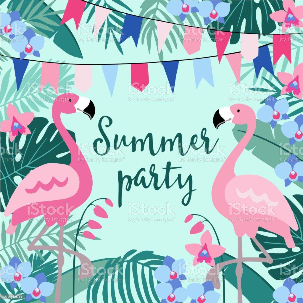 Ilustração De Verão Festa Cartão Do Aniversário Convite Com A Palma