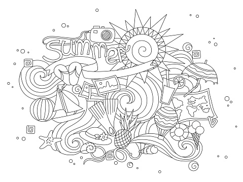 Summer Black Hand Drawn Thin Line Coloring Book Isolated