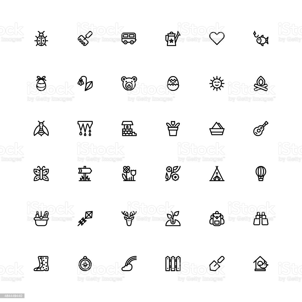 Summer black line set icons. vector art illustration