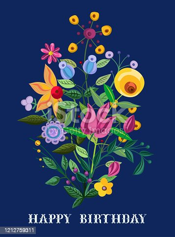 Vintage floral bouquet at dark blue background. Watercolor painting imitation vector illustration.