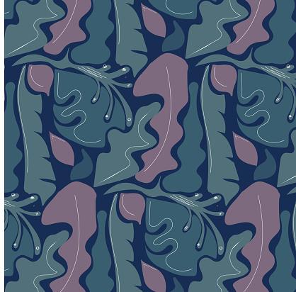 Summer botanic tropical jungle night seamless pattern background