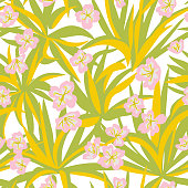 Summer botanical  garden mixtures with plants such as aloe leaves, flower heads and cactus. Decorative floral seamless pattern. Trendy flat design. Silhouettes and cut out style technique.