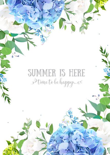 stockillustraties, clipart, cartoons en iconen met zomer botanische vector ontwerp banner. - hortensia