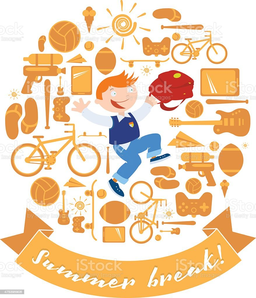 Summer break Schoolboy trips out vector art illustration