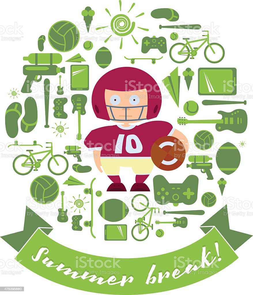 Summer break set with Schoolboy in football outfit vector art illustration