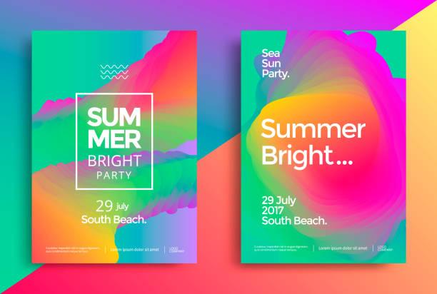 stockillustraties, clipart, cartoons en iconen met zomer heldere partij poster - party