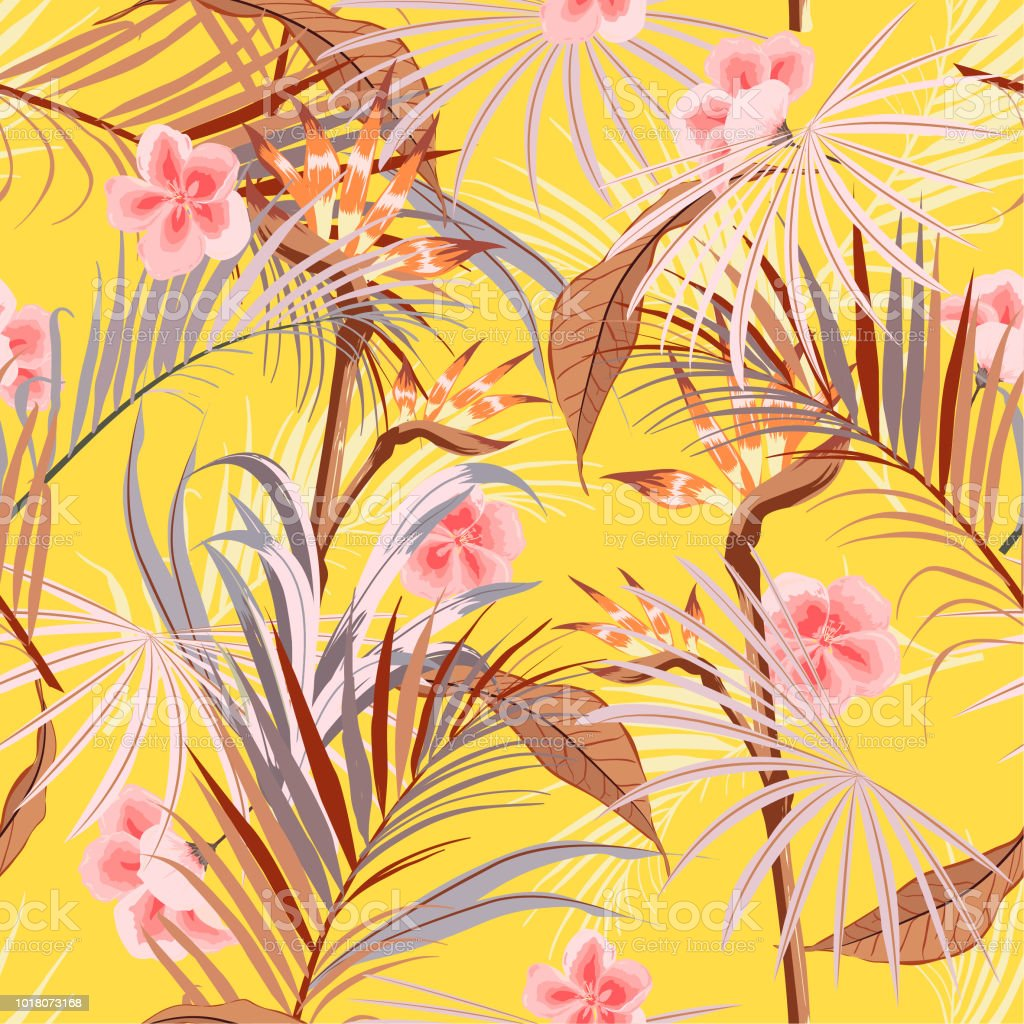 Summer Bright Retro Tropical Wild Forest With Palm Trees