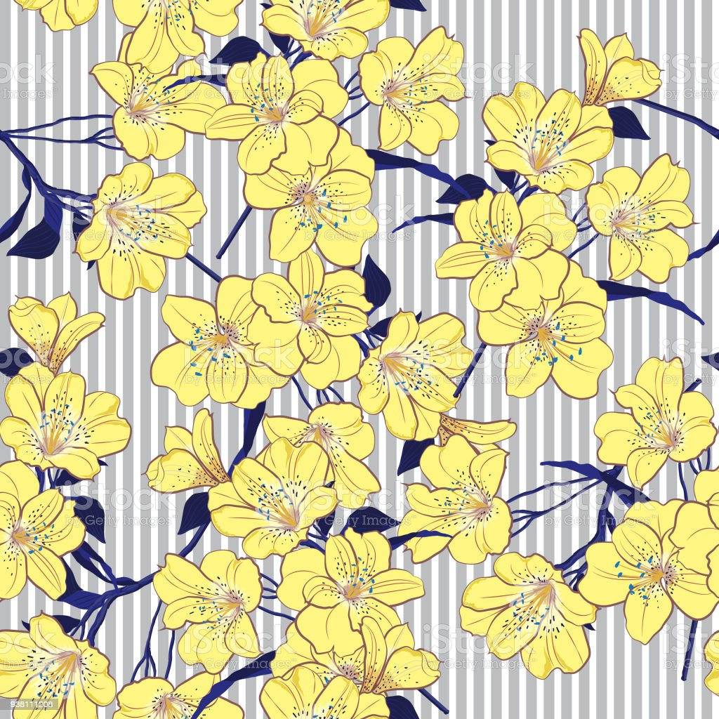 Summer Bright Yellow Blooming Flowers With Blue Leaves On The Light