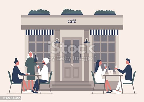 istock Summer cafe terrace, people drinking coffee and champagne outside on a sidewalk 1205900455