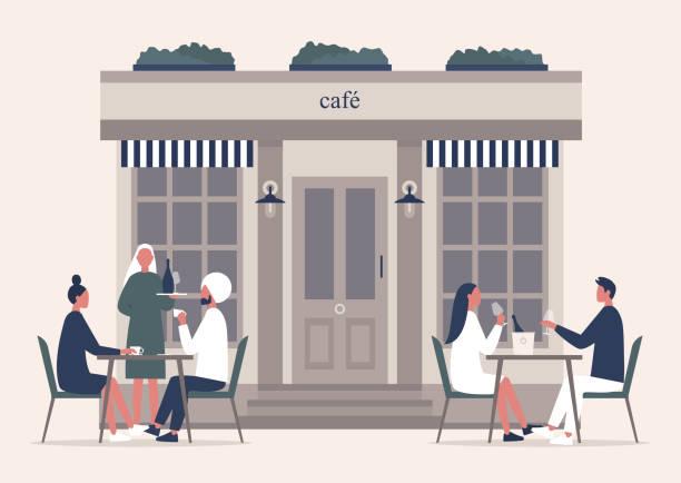 sommercafé-terrasse, leute, die draußen kaffee und champagner auf einem bürgersteig trinken - restaurant stock-grafiken, -clipart, -cartoons und -symbole