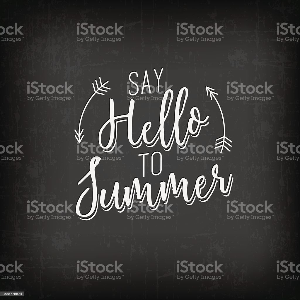 summer calligraphic design in vintage style on chalkboard stock