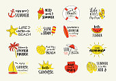 Summer calligraphy with funny icons. Vector.