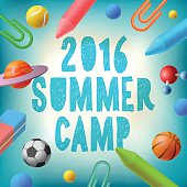 Summer camp 2016, themed poster, vector illustration.