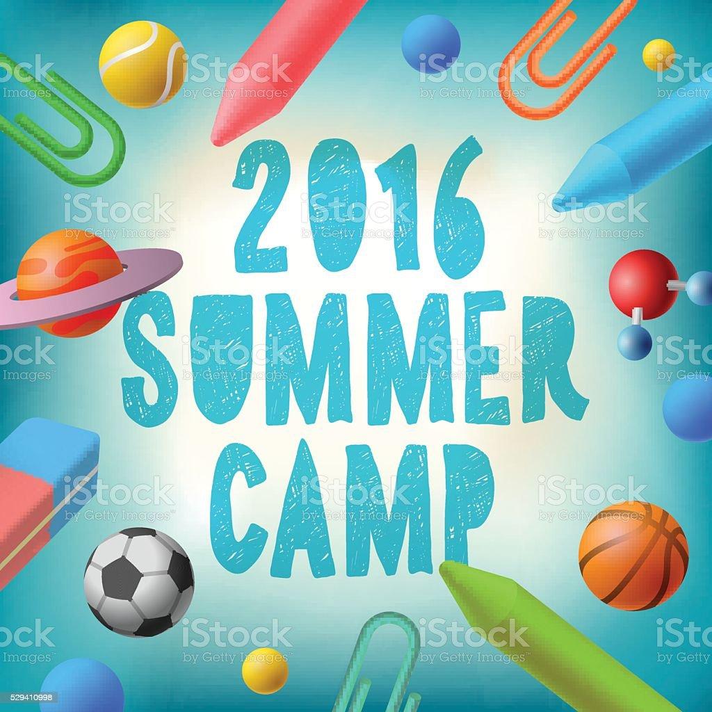 Summer camp 2016, themed poster vector art illustration