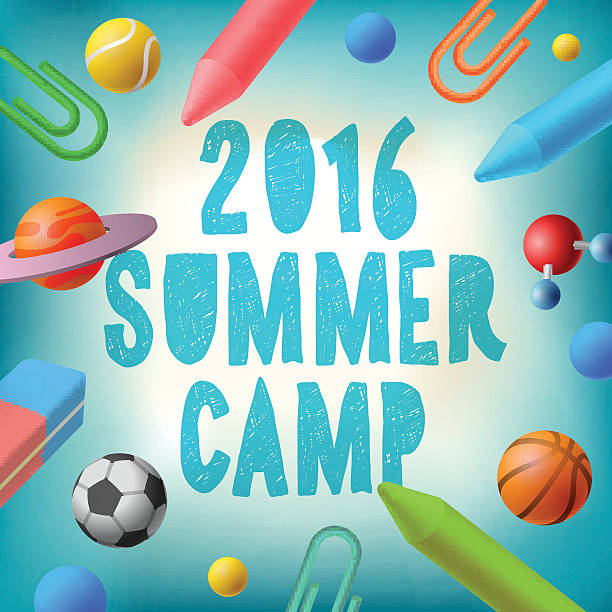 summer camp 2016, themed poster - art class stock illustrations, clip art, cartoons, & icons