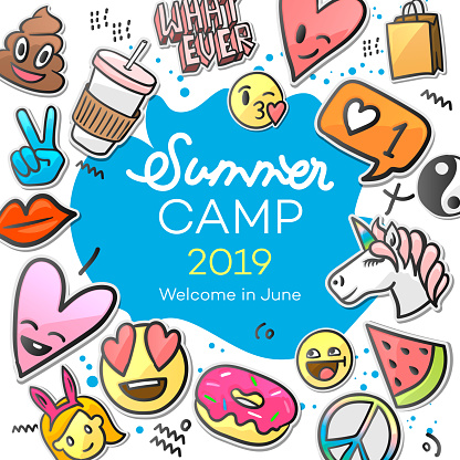 Summer Camp 2019 for kids. Creative and colorful poster with emoticon stickers, vector illustration.