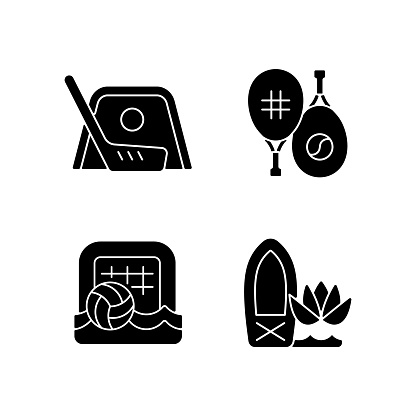 Summer camp activities black glyph icons set on white space