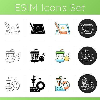 Summer camp activities icons set