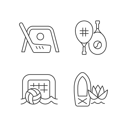 Summer camp activities linear icons set