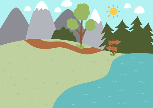 Summer camp background. Nature empty landscape with mountains, tree, path, forest, lake and wooden direction sign. Vector woodland scene. Active holidays or local tourism plan