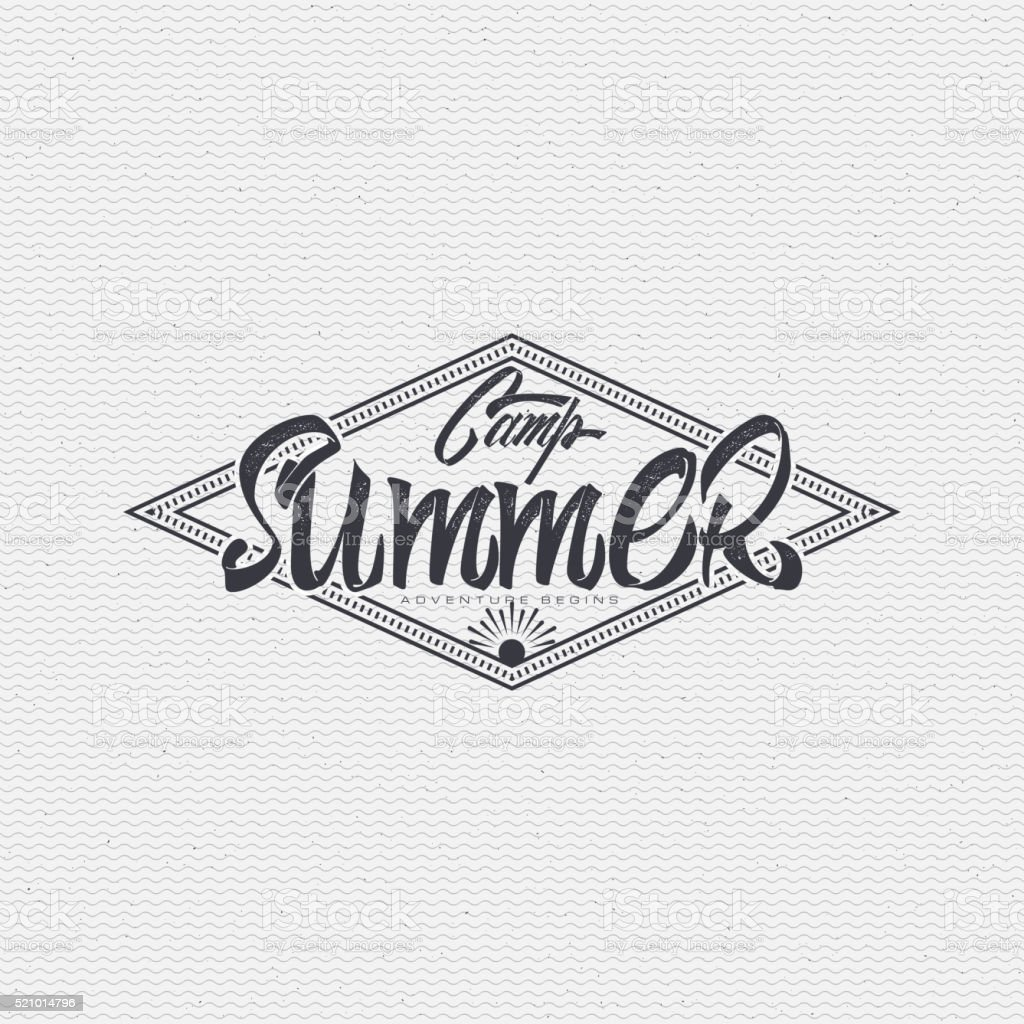 Summer Camp - badge, icon, poster, label, print, stamp, can vector art illustration