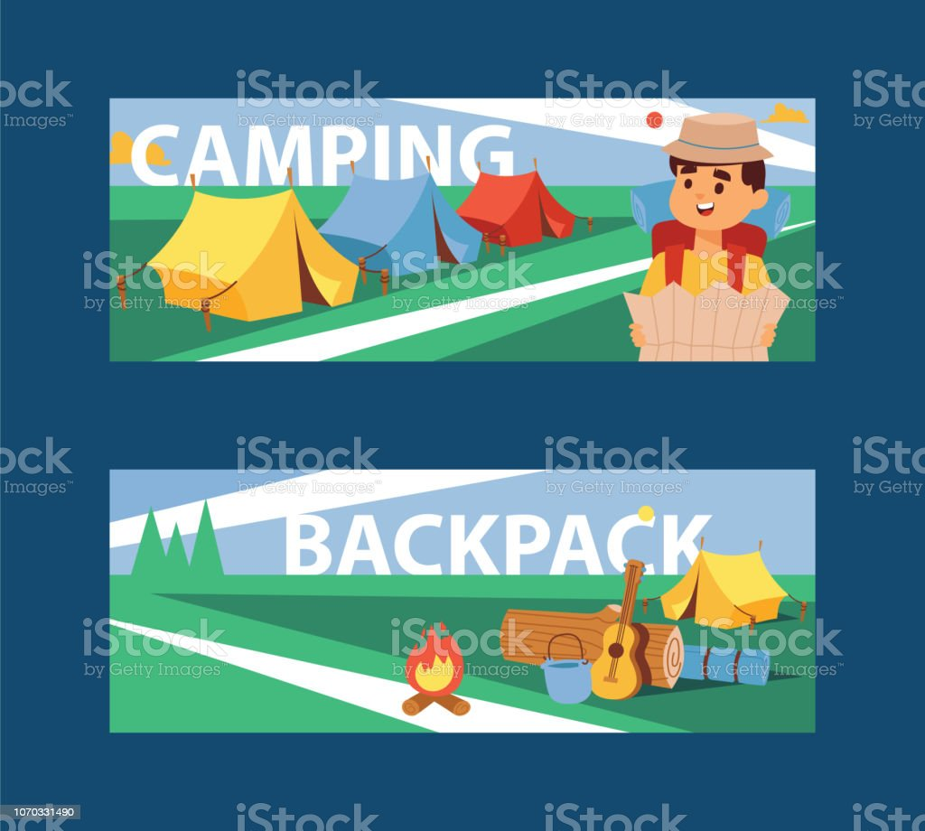 Summer camp banner vector illustration. Camping and Travelling on...