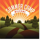 Summer camp burst. With type, fir trees, tent and hills. EPS 10 vector Royalty free stock illustration for ads, marketing, poster, flyer, blog, article, social media, signage, web page, greeting card and more. No open shapes or paths, grouped for easy editing.