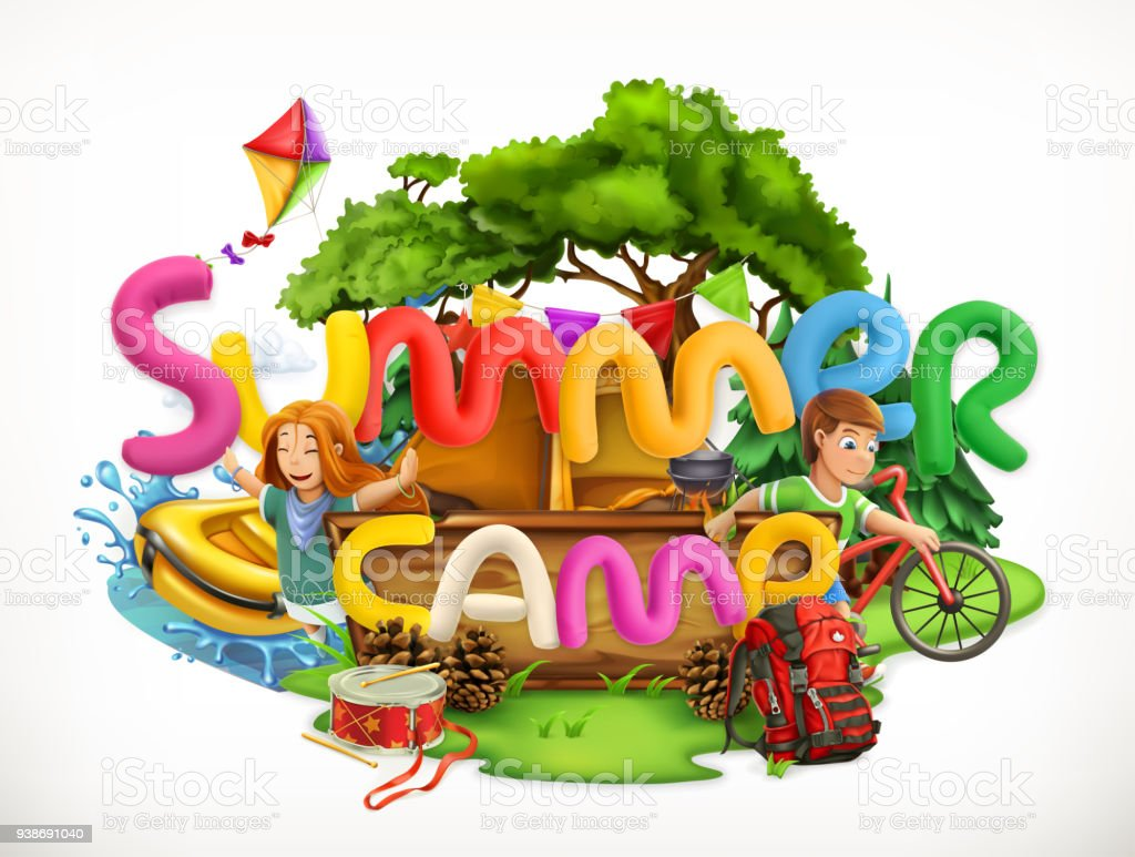 Summer camp. Camping and adventure, Summer holiday 3d vector illustration