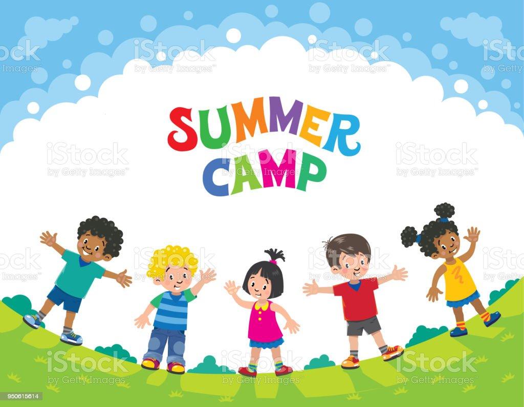 夏のキャンプ。子供たち。ロゴのデザイン テンプレート ベクターアートイラスト
