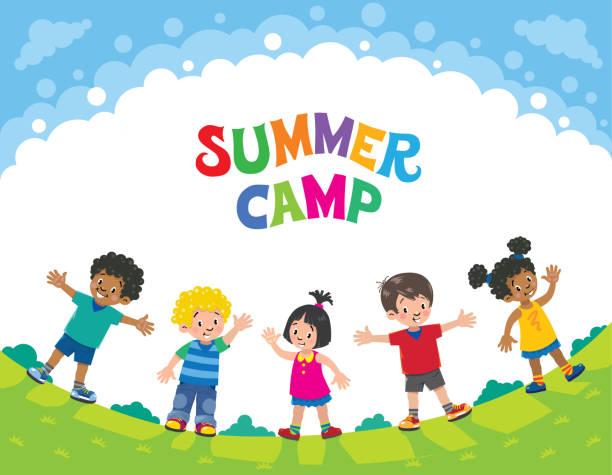 summer camp. children. design template with logo - recess stock illustrations, clip art, cartoons, & icons