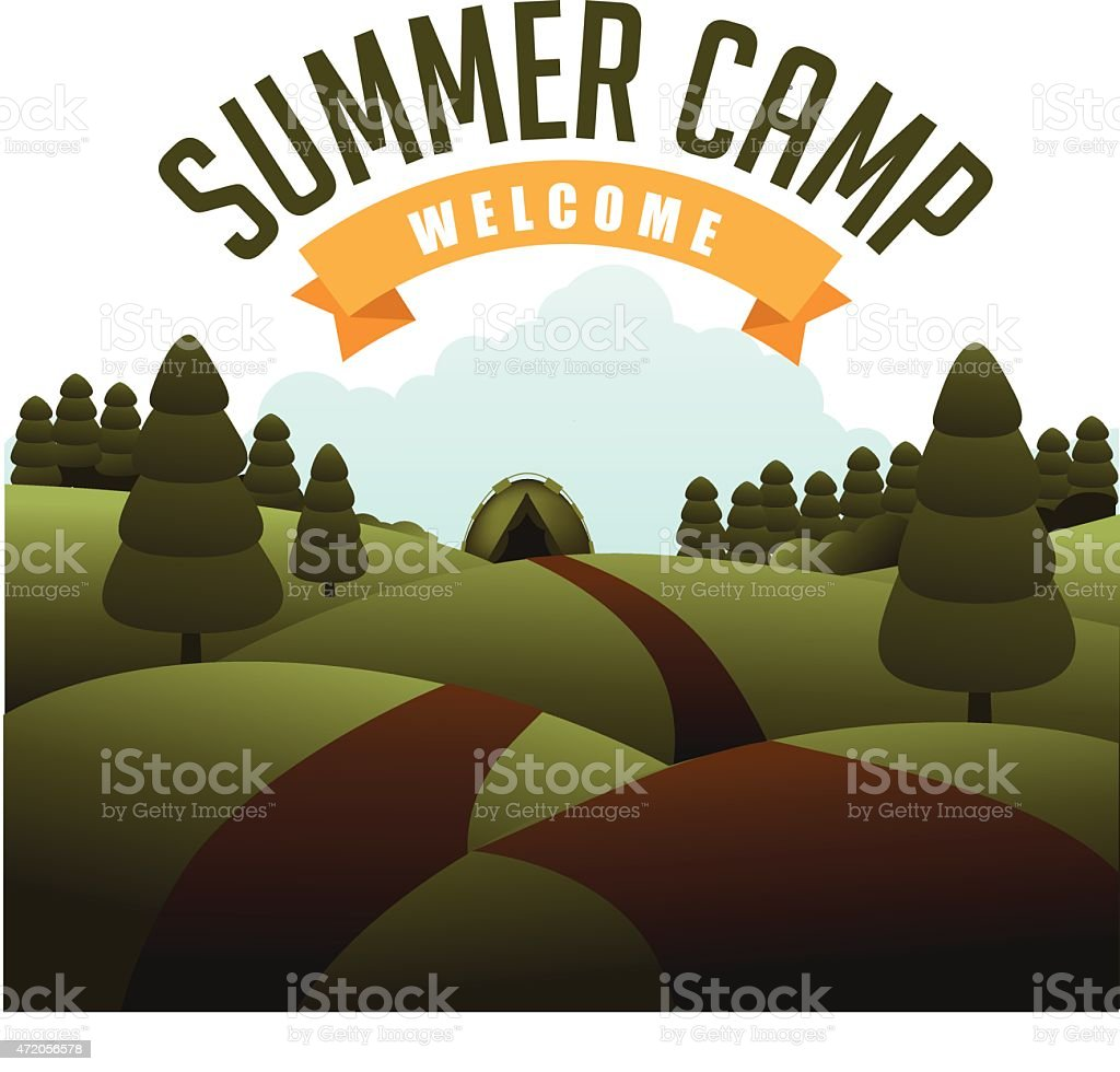 A summer camp flyer with trees and a road vector art illustration