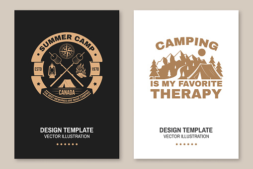 Summer camp. Happiness is toasted marshmallows. Vector. Vintage typography design with camping tent, campfire, marshmallow on a stick silhouette. Concept for shirt or print, stamp or tee