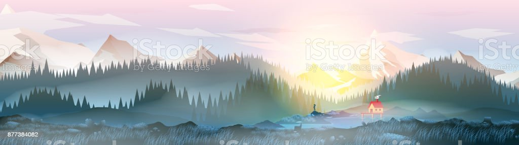 Summer Camp House with Mountain Lake Panorama - Vector Illustration vector art illustration