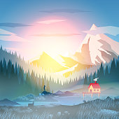 Summer Camp House with Mountain Lake - Vector Illustration