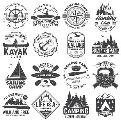 Summer camp, hunting club, sailing camp, yacht club, canoe and kayak club badges. Vector. Concept for shirt or logo, print, stamp. Design with camper, kayaker, hunter, sailing camp silhouette