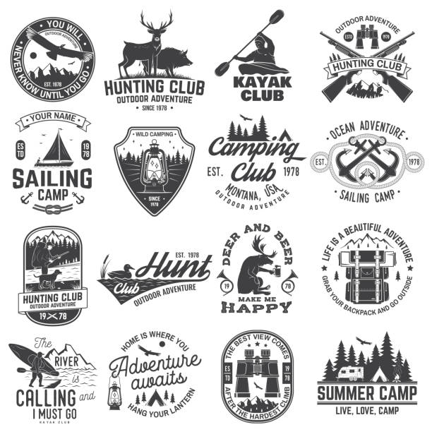 Summer camp, hunting club, sailing camp, yacht club, canoe and kayak club badges. Vector. Concept for shirt or logo, print, patch. Design with camper, kayaker, hunter, sailing camp silhouette Summer camp, hunting club, sailing camp, yacht club, canoe and kayak club badges. Vector. Concept for shirt or logo, print, stamp, patch. Design with camper, kayaker, hunter, sailing camp silhouette water bird stock illustrations