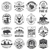 Summer camp, hunting club, sailing camp, yacht club, canoe and kayak club badges. Vector. Concept for shirt or logo, print, stamp, patch. Design with camper, kayaker, hunter, sailing camp silhouette