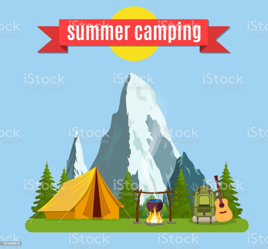 Summer camp. Landscape with yellow tent, royalty-free summer camp landscape with yellow tent stock vector art & more images of adventure