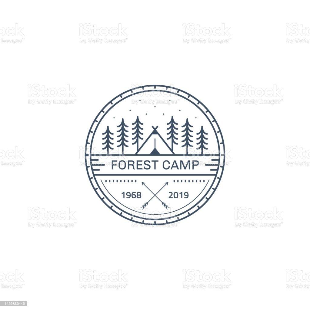 Forest camp badge design. Line art illustration. Trekking, camping...