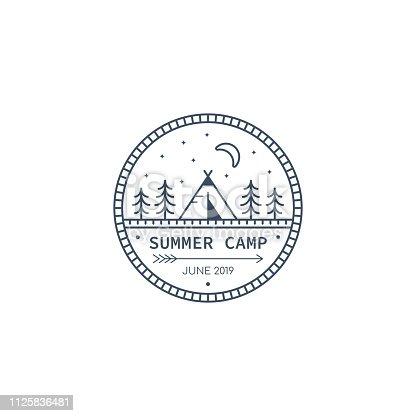 Forest camp badge design. Line art illustration. Trekking, camping emblem.