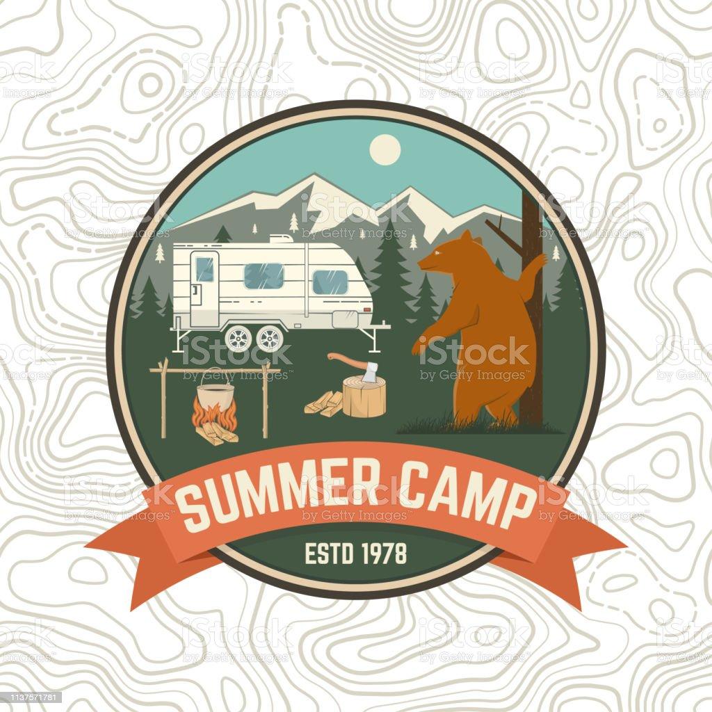 Summer camp patch. Vector illustration. Concept for shirt or logo,...