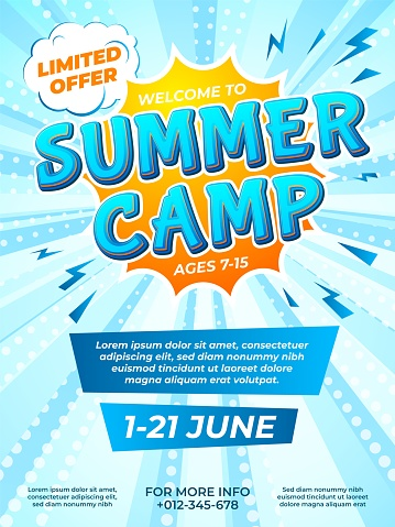 Summer camp poster. Child journey, camping comic style flyer. School kids vacation ad brochure design, fun adventures recent vector template