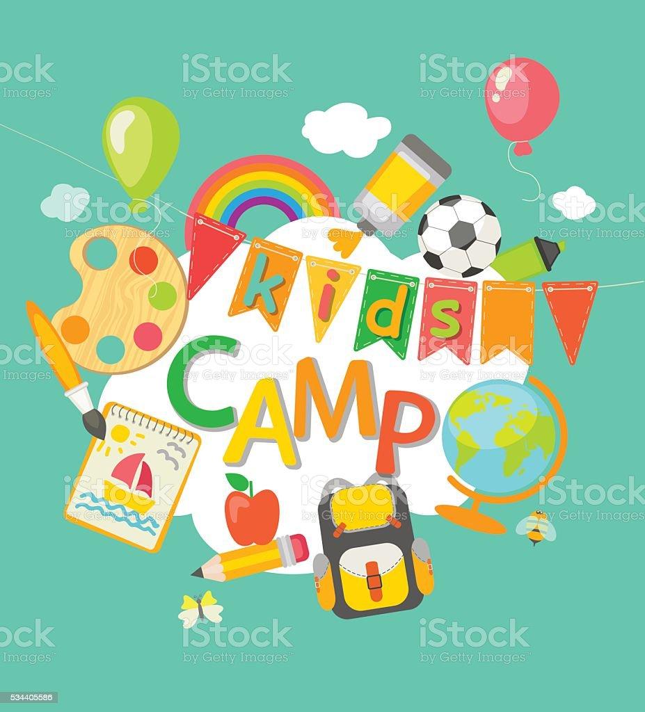 Summer Camp poster. vector art illustration