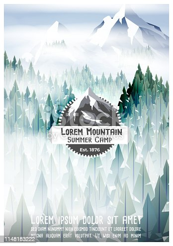 Summer camp poster with pine forest and mountain