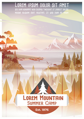 Summer camp poster with pine forest, lake and mountains