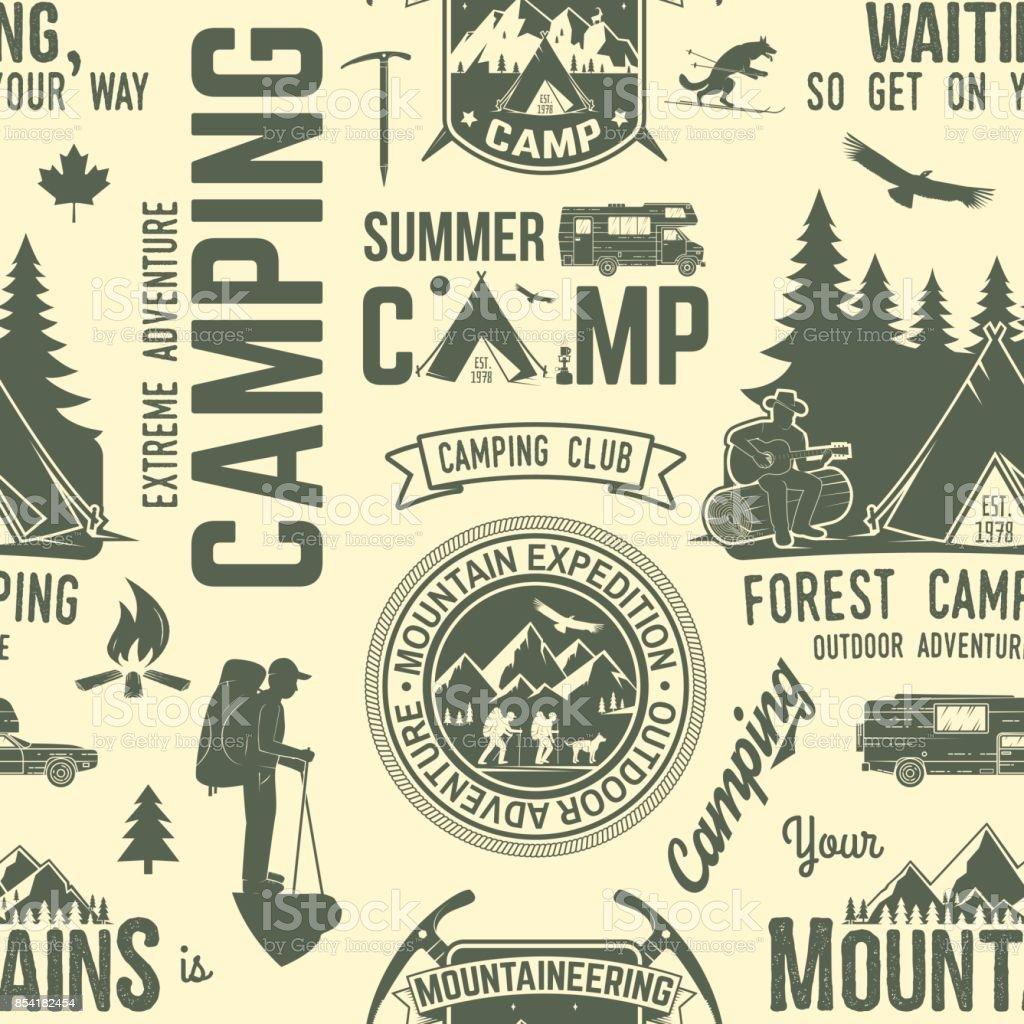 Summer camp seamless pattern or background vector art illustration
